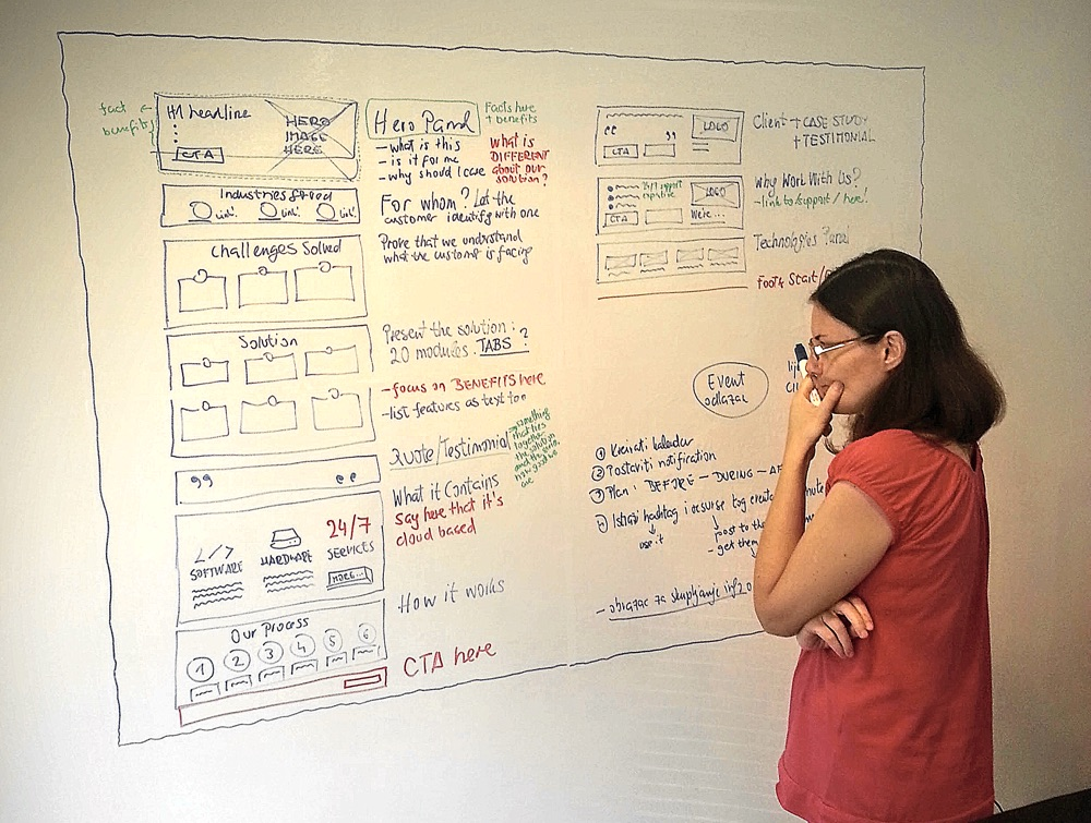 Drawing a landing page wireframe on a huge whiteboard